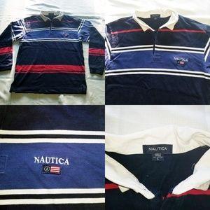 Vintage Men's Nautica Polo Colorblock Longsleeve L